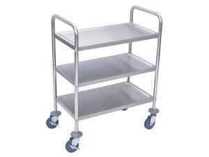 """Offex L100S3 - 37""""H Stainless Steel Cart - Three Shelves"""
