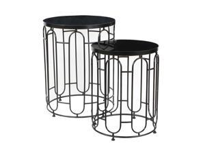 Cheung's Contemporary Decorative Mirrored Nesting Tables - 2 Piece, Black