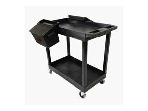 """Luxor Furniture 32"""" x 18"""" Tub Cart - Two Shelves with Outrigger Utility Cart Bins"""