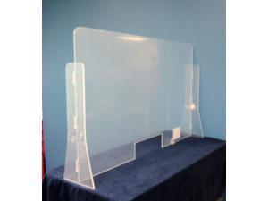 """Offex Antimicrobial Freestanding Protective Sneeze Guard Acrylic Divider Protection Barrier Shield for Counter, Food Screen, Transaction Window - Clear, 30"""" x 30"""" x 9"""""""