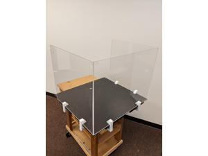 """Offex Clear Portable Antimicrobial Freestanding Plexiglass Protection Shield, Sneeze Guard Panel, Desk Barrier for Table, Countertops, Reception, Business, Office, School, Students  - 24"""" x 23.5"""""""