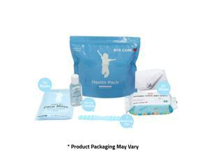 Health Pack PPE Kit for School, Student, Kids 6-12 Years - Includes: 1 Hand Sanitizer(50ml), Wet Wipes(25 count), Single-Use Face Masks(10 pcs) - Blue