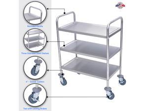 "Offex L100S3 - 37""H Stainless Steel Cart - Three Shelves"