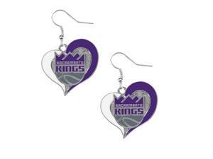NBA Sacramento Kings Swirl Heart Earring Dangle Logo Charm Gift Set