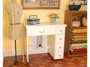 Arrow Auntie Vintage Sewing Machine Cabinet Airlift White With Two Fold Out Leaves