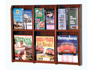 Wooden Mallet Home Office Divulge 6 Magazine 12 Brochure Wall Display Rack with Brochure Inserts Mahogany