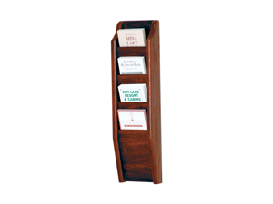 Wooden Mallet Cascade 4 Pocket Brochure Holder Display Rack Books Magazine Floor Display Rack stand Mahogany