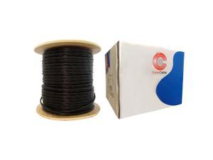 Direct Burial / Outdoor rated RG59 Siamese Coaxial / Power Cable, Black, Solid Core (Copper) Coax, 18 / 2 (18 AWG 2 Conductor) Stranded Copper Power, Spool, 1000 foot