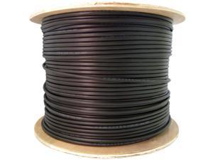 Direct Burial / Outdoor rated Cat 6 Ethernet Cable, Solid, CMXT, STP (Shielded Twisted Pair), Foil + Waterproof Tape, 23 AWG, Spool, 1000 foot - Black