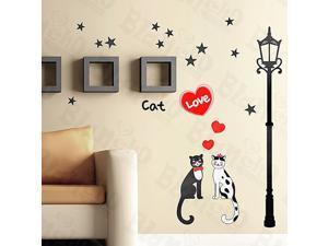 Home Kids Imaginative Art Cat Love - Medium Wall Decorative Decals Appliques Stickers