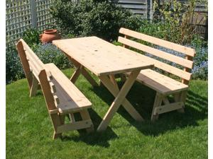 "Creekvine Designs Cedar 27"" Wide 4' Cross Legged Picnic Table with (2) 4' Backed Benches"