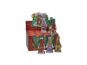 """Knox Metal Incense House - Assorted Houses - Display box of 12 pieces - 10.5""""H x 9""""W x 6.25""""D"""