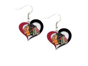 NHL Chicago Blackhawks Swirl Heart Earring Dangle Logo Charm Gift Set