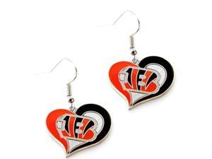 Bengals NFL Swirl Heart Dangle Earring Set Charm Gift
