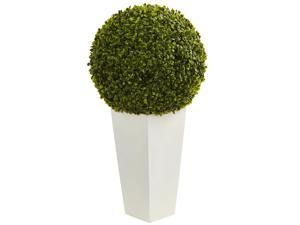 "Indoor/Outdoor 28"" Boxwood Topiary Ball Artificial Plant in White Tower Planter"