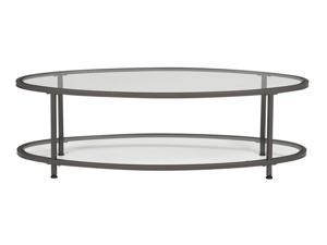 "Studio Designs Home Living Room Camber 48"" Oval Coffee Table - Pewter/Clear Glass"