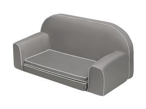 Badger Basket Upholstered Doll Sofa with Foldout Bed and Storage Pockets - Executive Gray