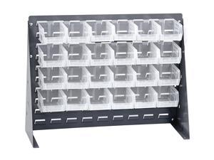 "Quantum Home Office Clear View Bench Rack With 24 Hang and Stack Storage Bins 5 3/8""L x 4 1/8""W x 3""H"