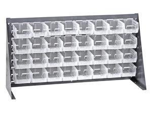 Offex Bench Rack Storage System with 32 Clear Storage Bins