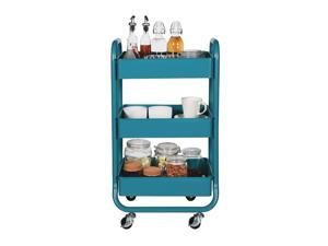 Designa Office Home Kitchen/Outdoor 3 Tiers Metal Mobile Organization Rolling Storage Cart with Handles - Turquoise