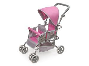 Badger Basket Cruise Folding Inline Double Doll Stroller with Padded Handle - Gray,Pink