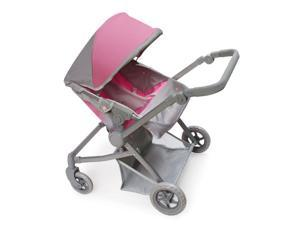 Badger Basket Voyage Twin Carriage Doll Stroller with Cushioned Handle - Gray,Pink