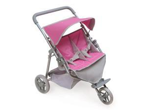 Badger Basket Trek 3 Wheel Folding Twin Doll Jogging Stroller with Rubber Padded Handle - Gray and Pink