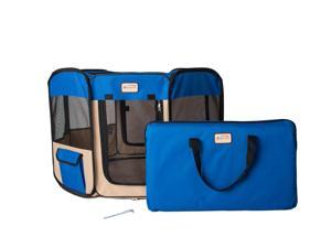 Armarkat Model PP001B-M Portable Playpen Pet is Water Resistant in Blue and Beige Combo