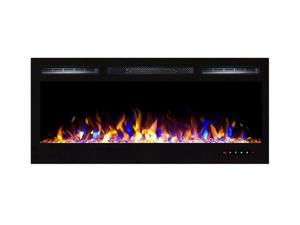 "Gibson Living Room Decor Bombay 36"" Crystal Recessed Touch Screen Multi-Color Wall Mounted Electric Fireplace"