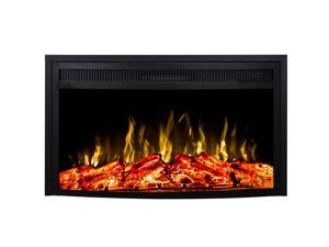 "Regal Flame 33"" Indoor Curved Ventless Heater Recessed Electric Fireplace Insert"