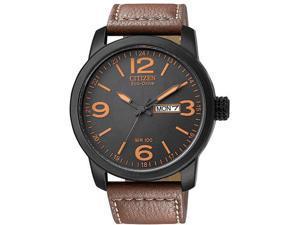Citizen Eco Drive Black Dial Brown Leather Mens Watch BM8475-26E