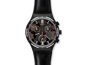Swatch Irony Eruption Black Dial Chronograph Black Leather Mens Watch YCB4023