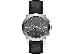 Burberry Grey Dial Black Leather Mens Watch BU9362