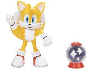 Sonic the Hedgehog 4 Inch Action Figure | Tails w/ Invincible Item Box