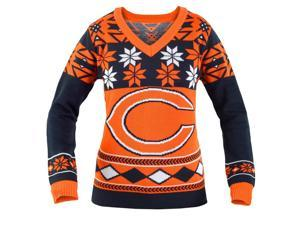 chicago bears nfl womens big logo v neck ugly christmas sweater small
