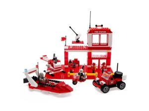 Best Lock Construction Toys Fire Station 450 Piece Set