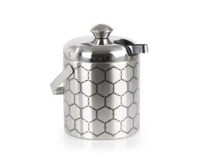 Stainless Steel Ice Bucket With Ice Molecule Pattern | Includes Set Of Ice Tongs