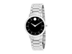 Movado Black Dial Stainless Steel Ladies Watch 0606690