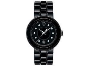 Movado Cerena Diamond Black Ceramic and PVD Ladies Watch 0606693