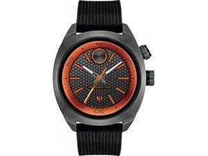 Movado Bold Mens Black Rubber Band Orange Accents Swiss Quartz Watch 3600212