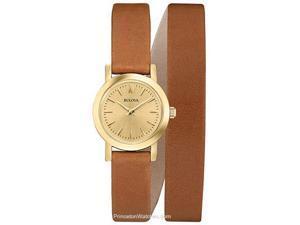 Bulova Dress Champagne Dial Brown Leather Double Wrap Ladies Watch 97L135