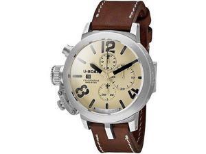 U Boat Beige Dial Brown Leather Mens Watch 7452