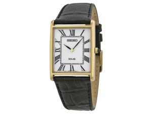 Seiko Solar Mens White Dial Gold Tone Black Leather Strap Watch SUP880