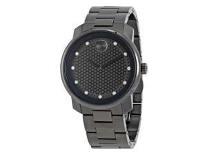 Movado Bold Gunmetal Diamond Dial Quartz Mens Watch 3600375