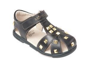 Momo Grow Toddler/Little Kid Studded Black Leather Sandal Shoes