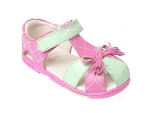 Momo Grow Toddler/Little Kid Tassel Bow Pink Leather Sandal Shoes
