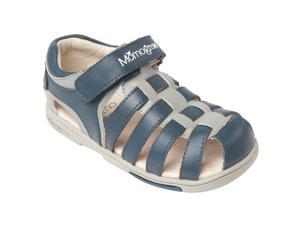 Momo Grow Toddler/Little Kid Basket-Weave Navy Leather Sandal Shoes