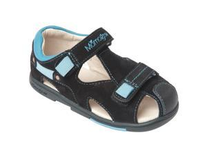 Momo Grow Toddler/Little Kid Double-Strap Black/Blue Leather Sandal Shoes