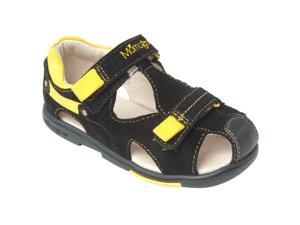 Momo Grow Toddler/Little Kid Double-Strap Black/Yellow Leather Sandal Shoes