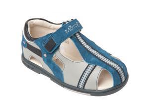 Momo Grow Toddler/Little Kid Cross-Strap Gray Leather Sandal Shoes